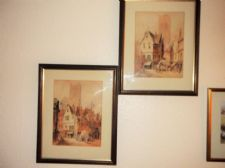 PAIR OF LARGE GLAZED OAK FRAMED WATERCOLOURS W. ALLEN CONTINENTAL MARKET SCENES